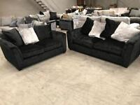 New 3+2 black crushed velvet sofa suite