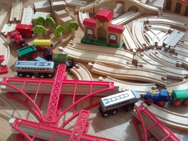 Wooden Train Set 75 Pieces Track Trains Accessories Etc Brio Elc Compatible In Bury St Edmunds Suffolk Gumtree