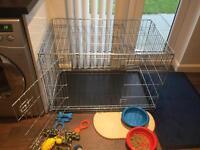 Double door dog training cage