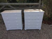 SOLID PINE CHEST OF DRAWERS --5 DRAWERS --PAINTED WHITE -TOP SANDED + WAXED - 2 FOR SALE £99 EACH