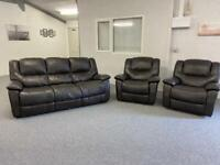 DARK BROWN 3-1-1 LEATHER SOFAS SUITE WITH RECLINERS