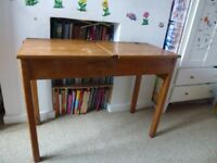 Wooden double twin storage compartments vintage desk