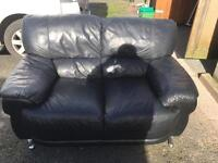 Black leather 2 seater