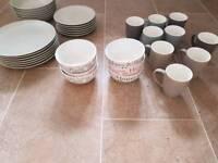 Plates, mugs, bowls, crockery, home, dinner