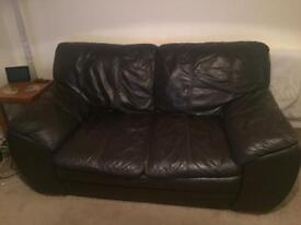 Sofas brown leather matching 3 and 2 seater