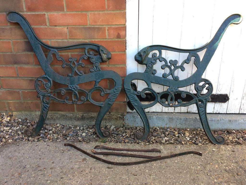 Cast Iron Bench Ends Lion Head Arm Rest Garden Patio Seat