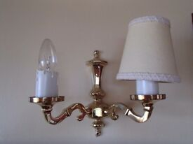 Brass wall lamp + 2 arms £25