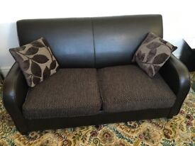DFS Brown Leather & Fabric Double Sofa Bed - Hardly Been Used VGC