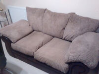 2 Seater Brown Fabric Sofa Very Comfortable