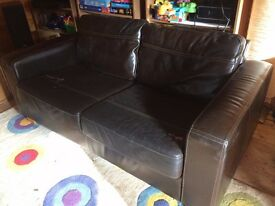 John Lewis brown leather 2-seater sofa - £25 ONO. Collection from Knaphill, Surrey
