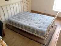 Double Bed + Mattress: metal frame, sprung slats