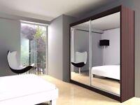 🔥💗🔥BLACK WALNUT WHITE& WENGE🔥💗🔥New Berlin Full Mirror 2 Door Sliding Wardrobe w Shelves &Rails