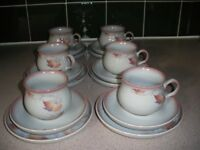Denby Stoneware, 5 Cups ,6 saucers,6 teaplates,1 sugar bowl. Twilight Design. beautiful condition