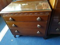 Vintage Mahogany 3 Drawer Dressing Chest with triple mirror