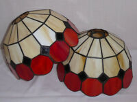 2 red Tiffany style lampshades