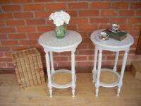 Pair of hand painted side tables/bedside tables/occasional tables