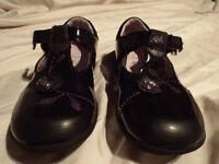 Girls Clarks Strap Black Shoes, Infant Child Size 8F