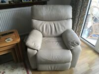 Two genuine leather recliner armchairs