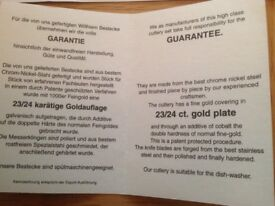 12 Place Settings + serving cultery canteen of Cutlery,23/24 Gold Plated Trim, Cost £100,never used