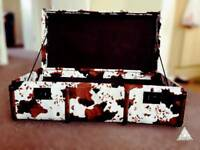 Rustic Faux Suede Cowhide Wood Suitcase.