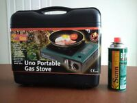 SunnGas portable single burner gas stove, brand new complete with cartridge