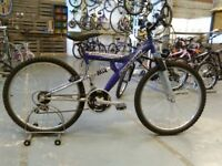 LADIES/OLDER GIRLS FALCON MONACO BIKE 26 INCH WHEELS 18 SPEED FULL SUSPENSION PURPLE/SILVER GOOD CON