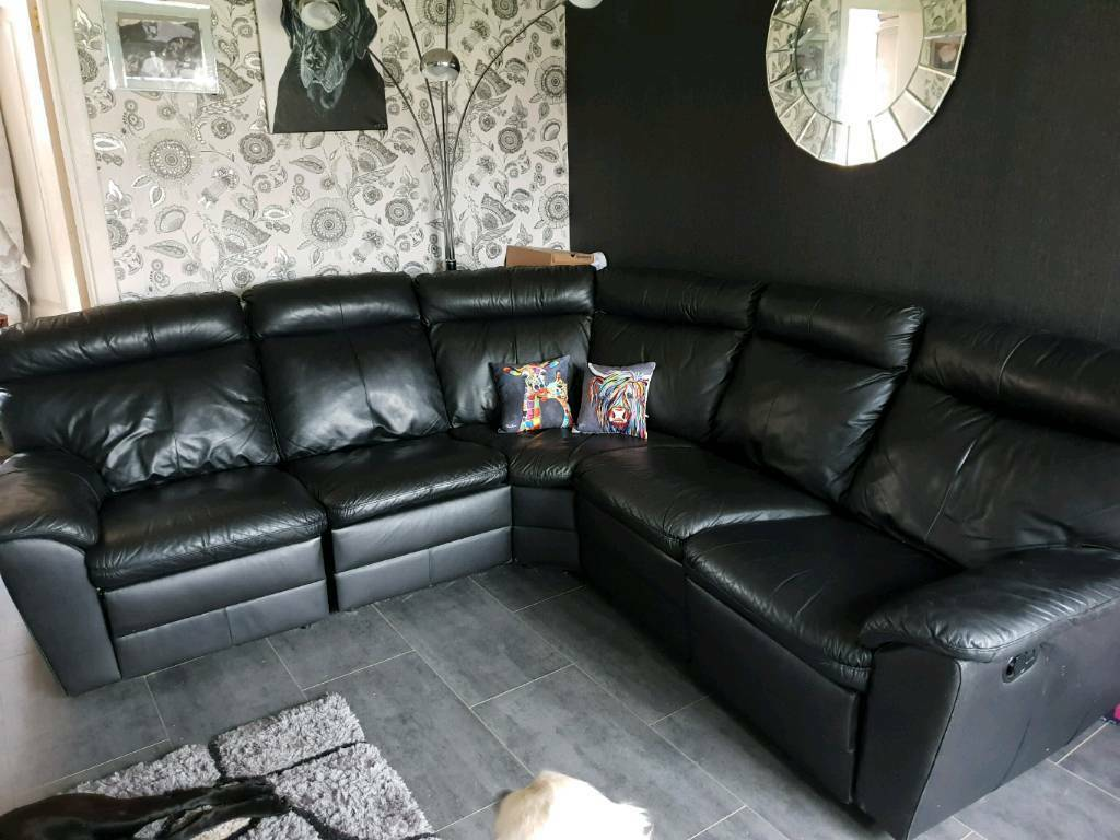 Real Black Leather Reclining Corner Sofa In Dundee Gumtree