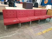 Red fabric reception seating chairs (priced individually)