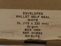White Self Seal Wallet Envelopes 110 x 220 mm approx 2000 - £15 buyer uplifts