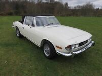Exceptional Stag 1972 Mk 1 Manual with overdrive, white, previous Concours winner.