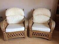 Cane Armchairs (2) conservatory chair furniture