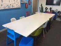 Steelcase white boardroom table with chrome legs, very good condition