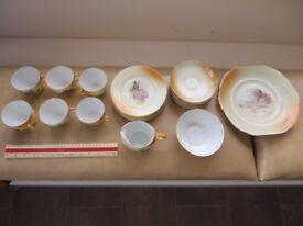 FS Vintage Full VICTORIA CHINA CZECHOSLOVAKIA Pottery Rustic Scenes Tea Set 21 pieces