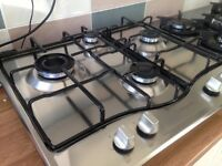 Almost new hotpoint 4 Burner, 60cm gas hob, stainless steel