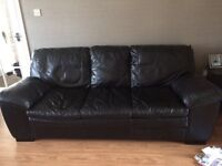 Black leather 3 seater for sale