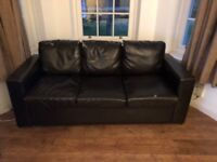 Faux Leather Sofa Bed and Two Matching Chairs