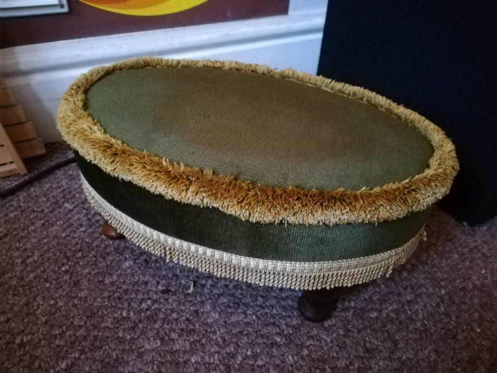 Genuine Sherbourne pouffe/footstool. Olive green and gold, velvet effect, vintage foot rest