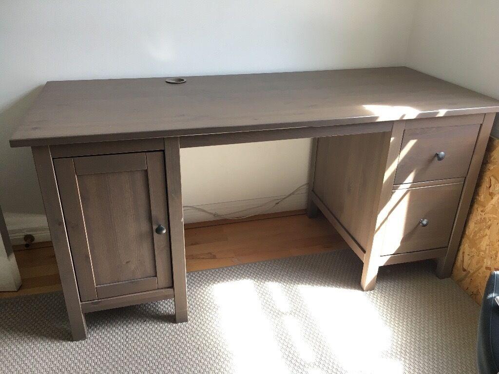 Ikea Hemnes Grey Wooden Desk Computer Or Office