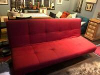 "Red Ligne Roset 2 seater ""Smala"" sofa bed"