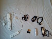 Lenovo notebook charger, extension cords and Blackberry Q10 batteries