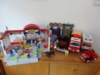 Large Playmobil Bundle Supermarket Ambulance Truck & People