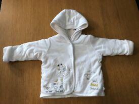M&S white reversable jacket 6-9 months