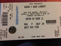 Queen + Adam Lambert ticket SSE Arena Belfast 26th Nov