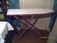 IRONING BOARD , In TRADITIONAL WOOD , VERY STURDY with a NEW CLEAN TOP ++++++++