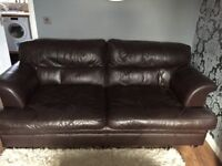 2 & 3 piece leather sofa also comes with medium size puffy/stool, in good condition