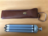 Vintage telescopic tripod in leather case