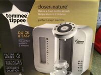 Tommee Tippee Perfect Prep Machine in box with two filters and powder measuring pots