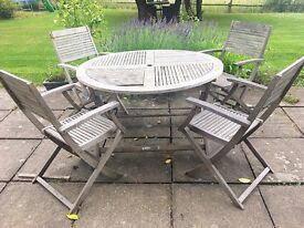 John Lewis teak round garden table and 4 chairs