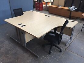 MAPLE RADIAL L SHAPED DESK,LEFT & RIGHT HAND AVAILABLE OFFICE,HOME