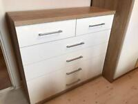 White 3 piece furniture set - Chest of drawers, wardrobe, bed side drawers